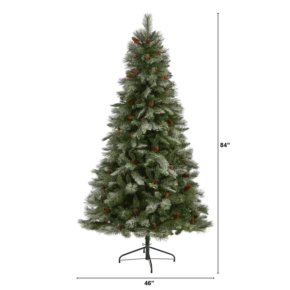 7' Snowed French Alps Mountain Pine Artificial Christmas Tree with 833 Bendable Branches and Pine Cones