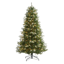 7' Snowed Grand Teton Artificial Christmas Tree with 500 Clear Lights and 1050 Bendable Branches