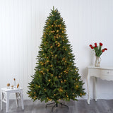 7' Sun Valley Fir Artificial Christmas Tree with 450 LED Lights