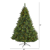 7' West Virginia Full Bodied Mixed Pine Artificial Christmas Tree with 450 Clear LED Lights and Pine Cones