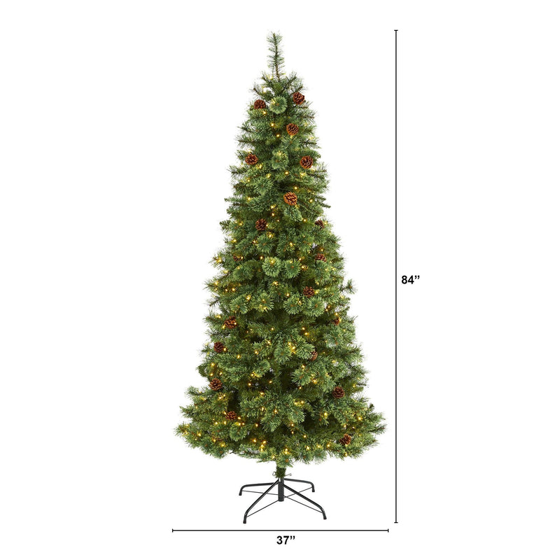 7' White Mountain Pine Artificial Christmas Tree with 400 Clear LED Lights and Pine Cones