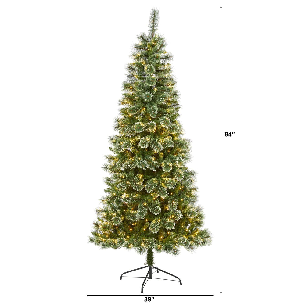 7' Wisconsin Slim Snow Tip Pine Artificial Christmas Tree with 400 Clear LED Lights