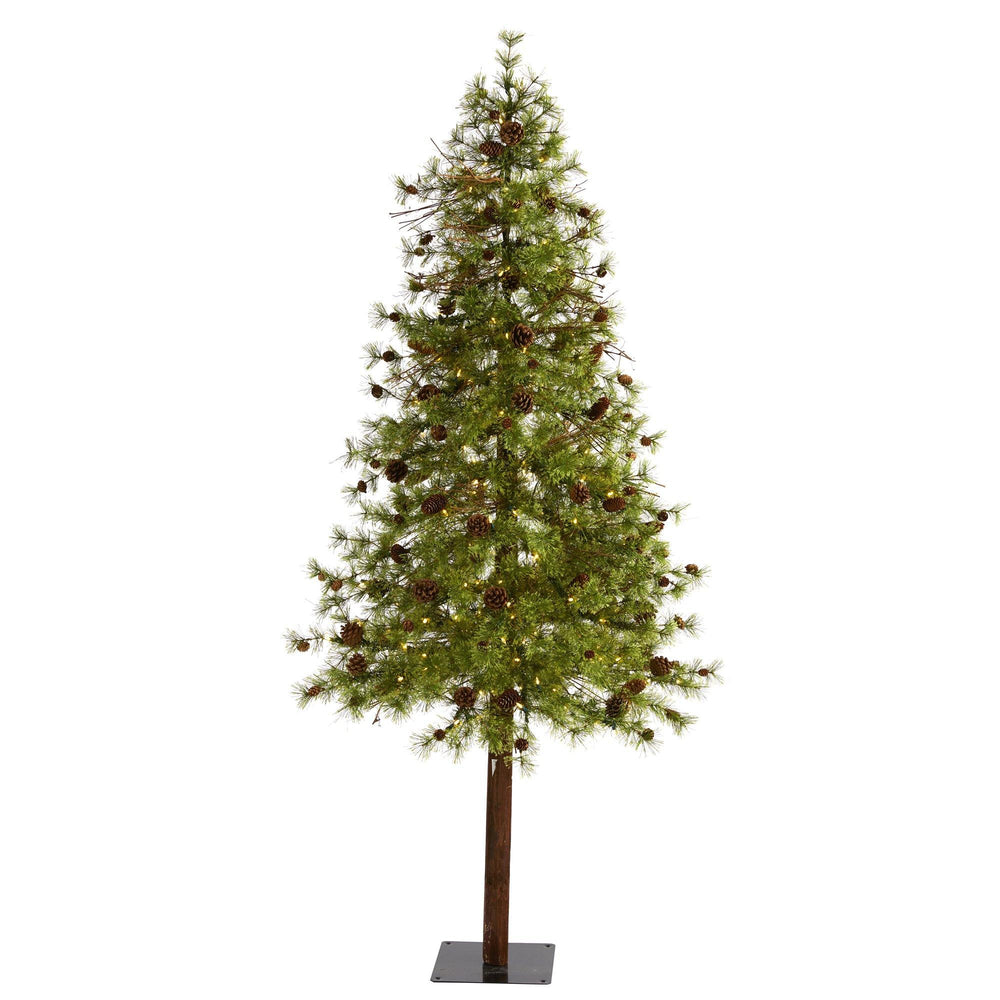 7' Wyoming Alpine Artificial Christmas Tree with 200 Clear (multifunction) LED Lights and Pine Cones on Natural Trunk