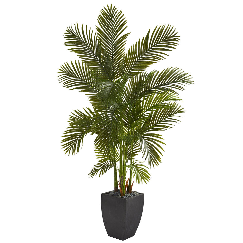 "70"" Areca Palm Artificial Tree in Black Planter"