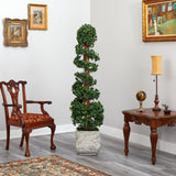 "70"" English Ivy Topiary Spiral Artificial Tree in White Planter UV Resistant (Indoor/Outdoor)"