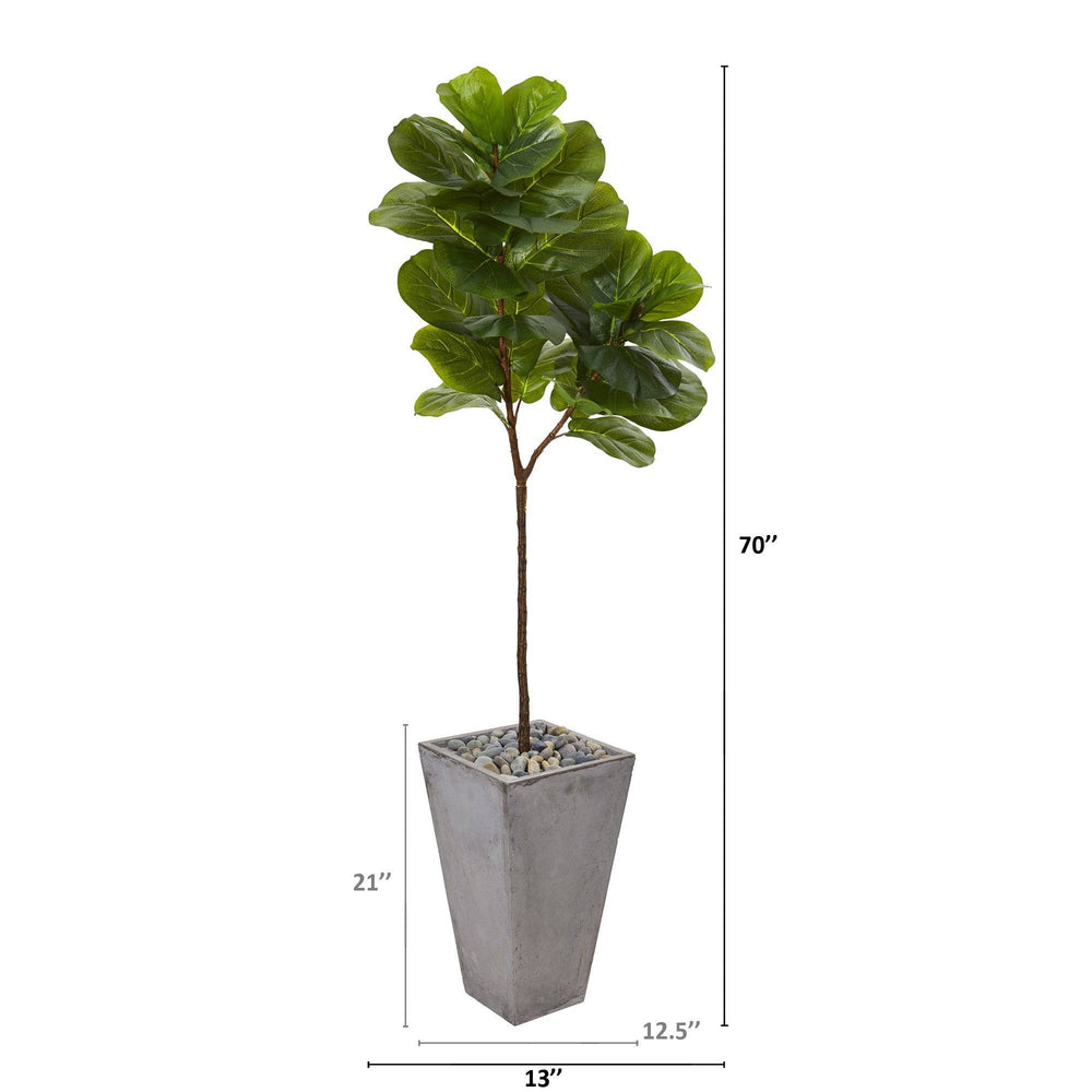 "70"" Fiddle Leaf Artificial Tree in Cement Planter (Real Touch)"
