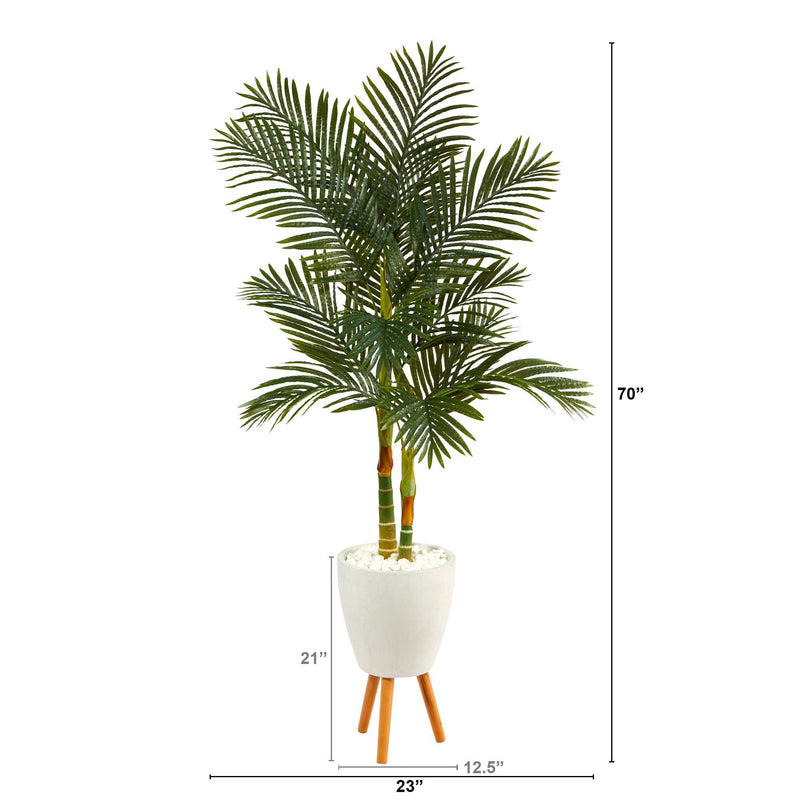 "70"" Golden Cane Artificial Palm Tree in White Planter with Stand"