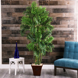 "71"" Areca Palm Artificial Tree in Brown Planter"