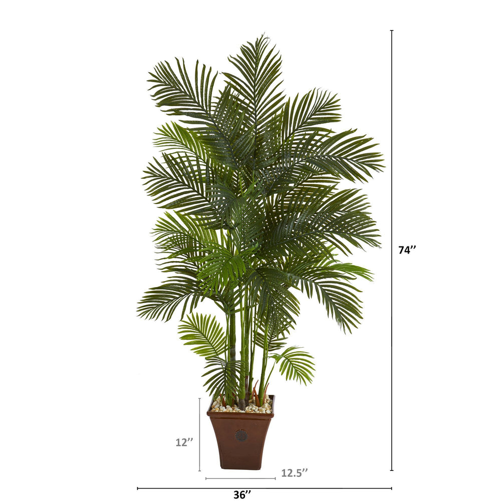 "74"" Areca Palm Artificial Tree in Brown Planter"