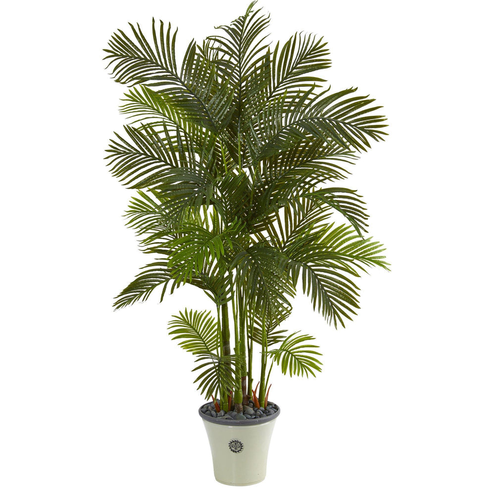 "74"" Areca Palm Artificial Tree in Decorative Planter"