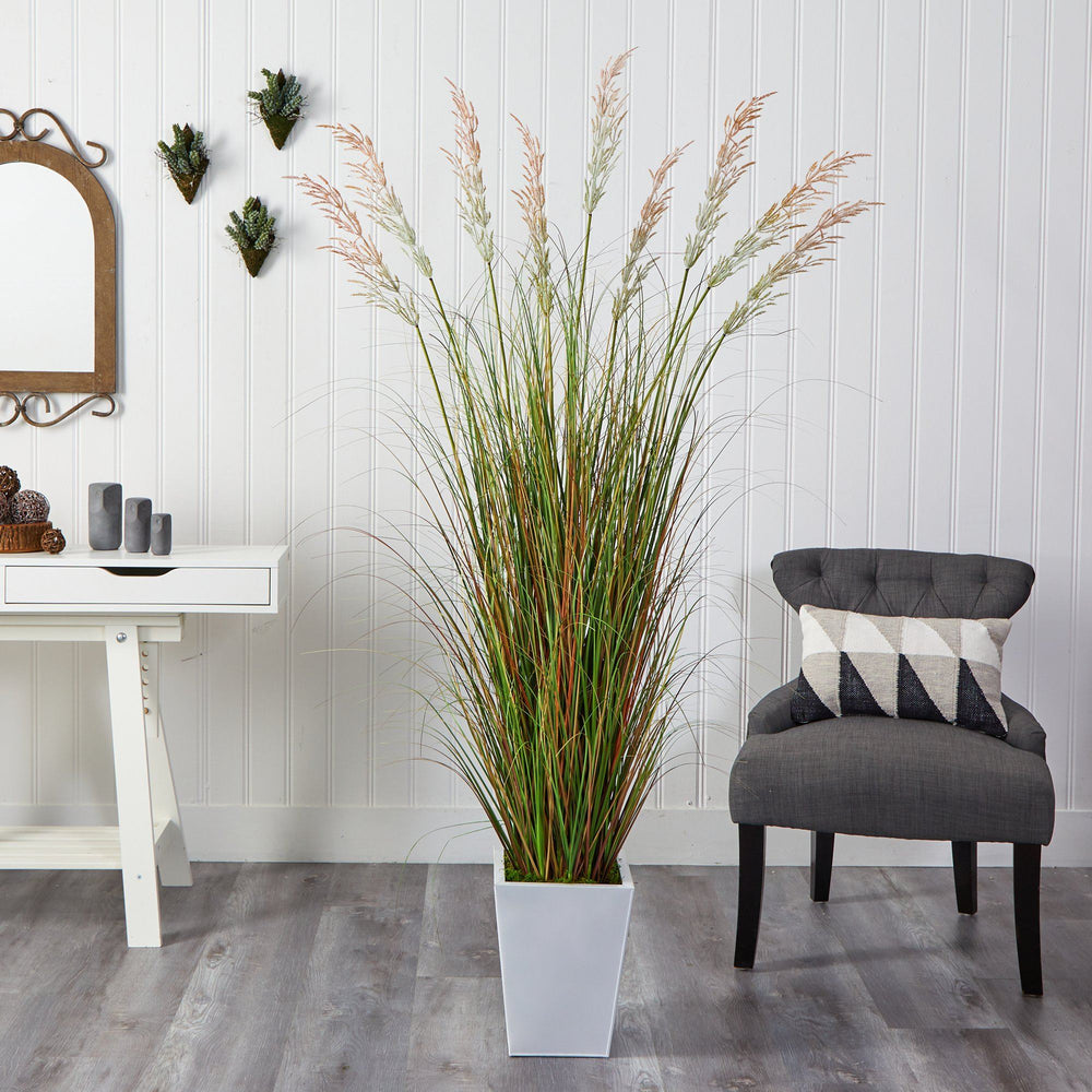 "74"" Grass Artificial Plant in White Metal Planter"