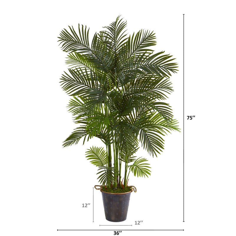 "75"" Areca Palm Artificial Tree in Decorative Metal Pail with Rope"