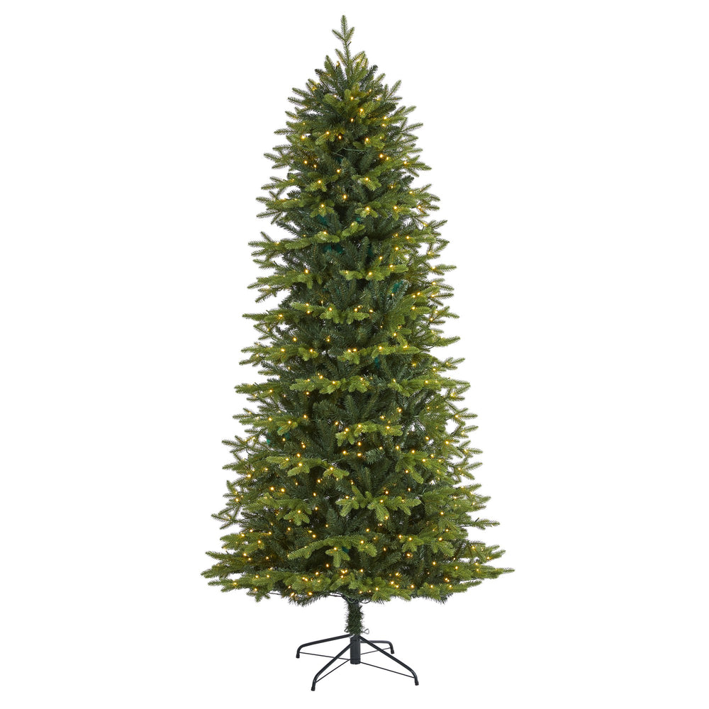 "7.5' Belgium Fir ""Natural Look"" Artificial Christmas Tree with 550 Clear LED Lights"