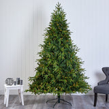 "7.5' Colorado Mountain Fir ""Natural Look"" Artificial Christmas Tree with 600 Clear LED Lights and 3048 Bendable Branches"
