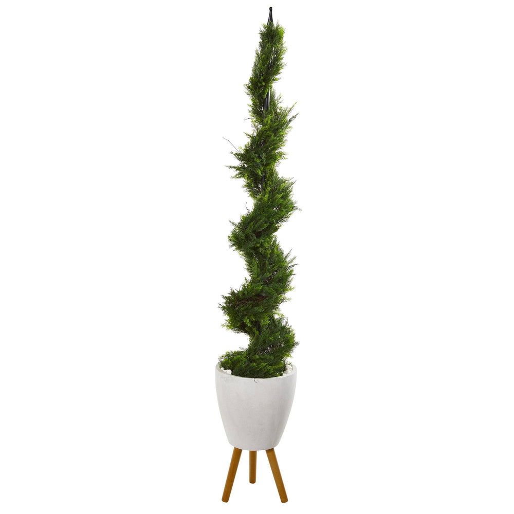 "75"" Cypress Artificial Spiral Tree in White Planter with Stand"