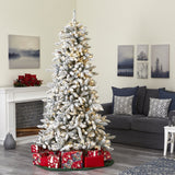 7.5' Flocked Livingston Fir Artificial Christmas Tree with Pine Cones and 500 Clear Warm LED Lights