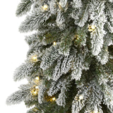 7.5' Flocked Washington Alpine Christmas Artificial Tree with 350 White Warm LED Lights and 877 Bendable Branches