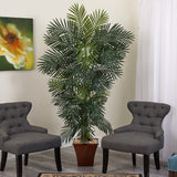 "75"" Golden Cane Artificial Palm Tree in Brown Planter"
