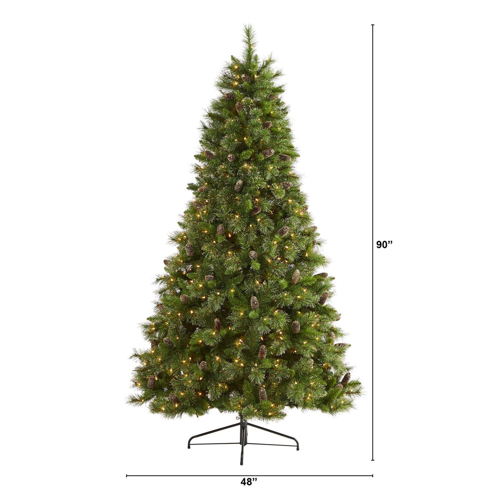 7.5' Golden Tip Washington Pine Artificial Christmas Tree with 600 Clear Lights, Pine Cones and 1568 Bendable Branches