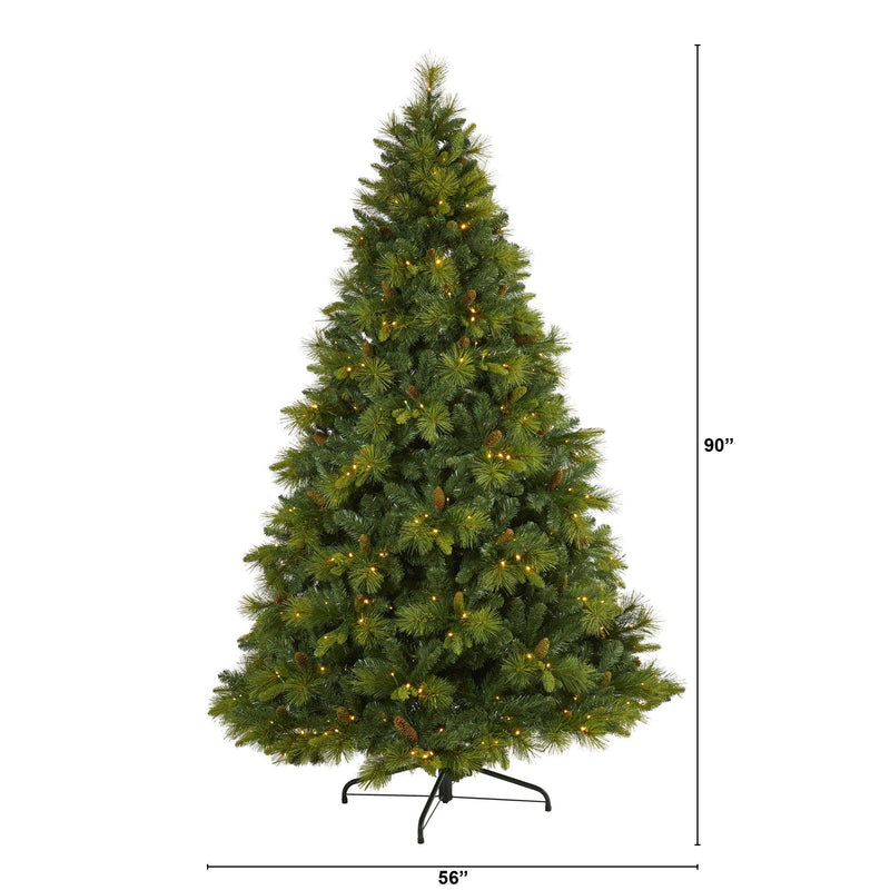 7.5' North Carolina Mixed Pine Artificial Christmas Tree with 470 Warm White LED Lights, 1895 Bendable Branches and Pinecones