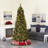 7.5' Norway Mixed Pine Artificial Christmas Tree with 450 Clear LED Lights, Pine Cones and Berries