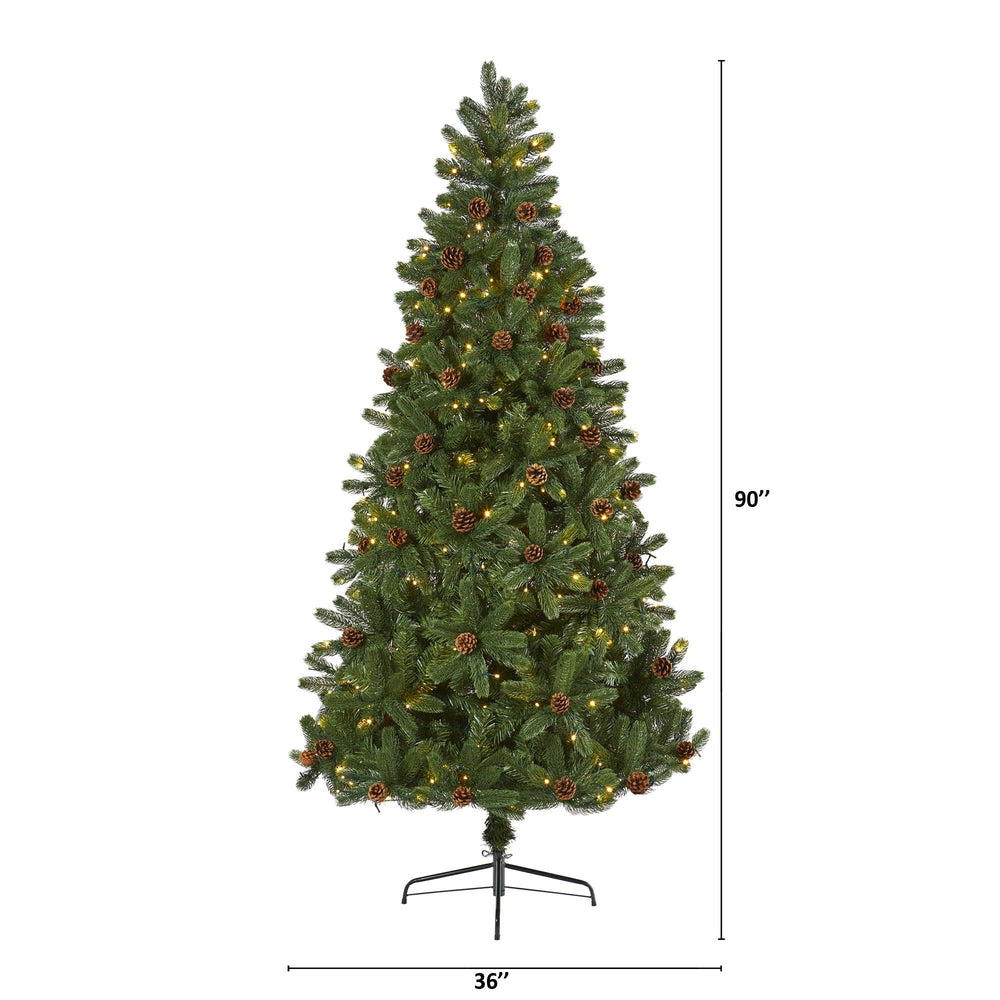 7.5' Rocky Mountain Spruce Artificial Christmas Tree with Pinecones and 400 Clear LED Lights