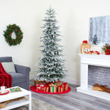 7.5' Slim Flocked Nova Scotia Spruce Artificial Christmas Tree with 450 Warm White LED Lights and 909 Bendable Branches