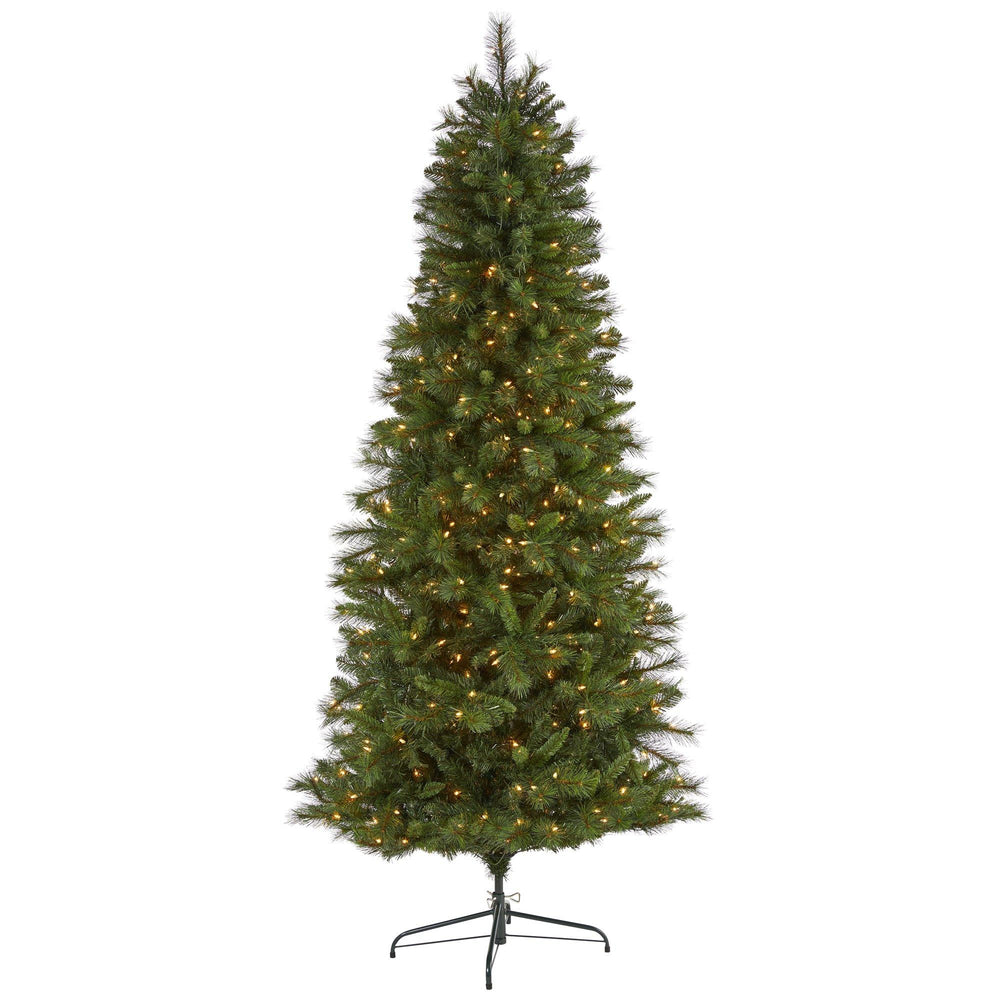 7.5' Slim West Virginia Mountain Pine Artificial Christmas Tree with 450 Clear Lights and 967 Bendable Branches