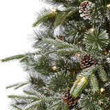 7.5' Snowed Tipped Clermont Mixed Pine Artificial Christmas Tree with 600 Clear LED Lights, Pine Cones and 1784 Bendable Branches