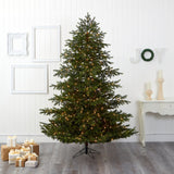 7.5' South Carolina Spruce Real Touch Artificial Christmas Tree with 650 (Multifunction) Warm White LED Lights with Instant Connect Technology and 1081 Bendable Branches