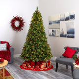 8' Aberdeen Spruce Artificial Christmas Tree with 500 Clear LED Lights, Pine Cones and Red Berries