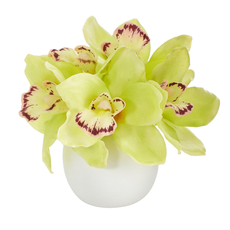 "8"" Cymbidium Orchid Artificial Arrangement in White Vase"