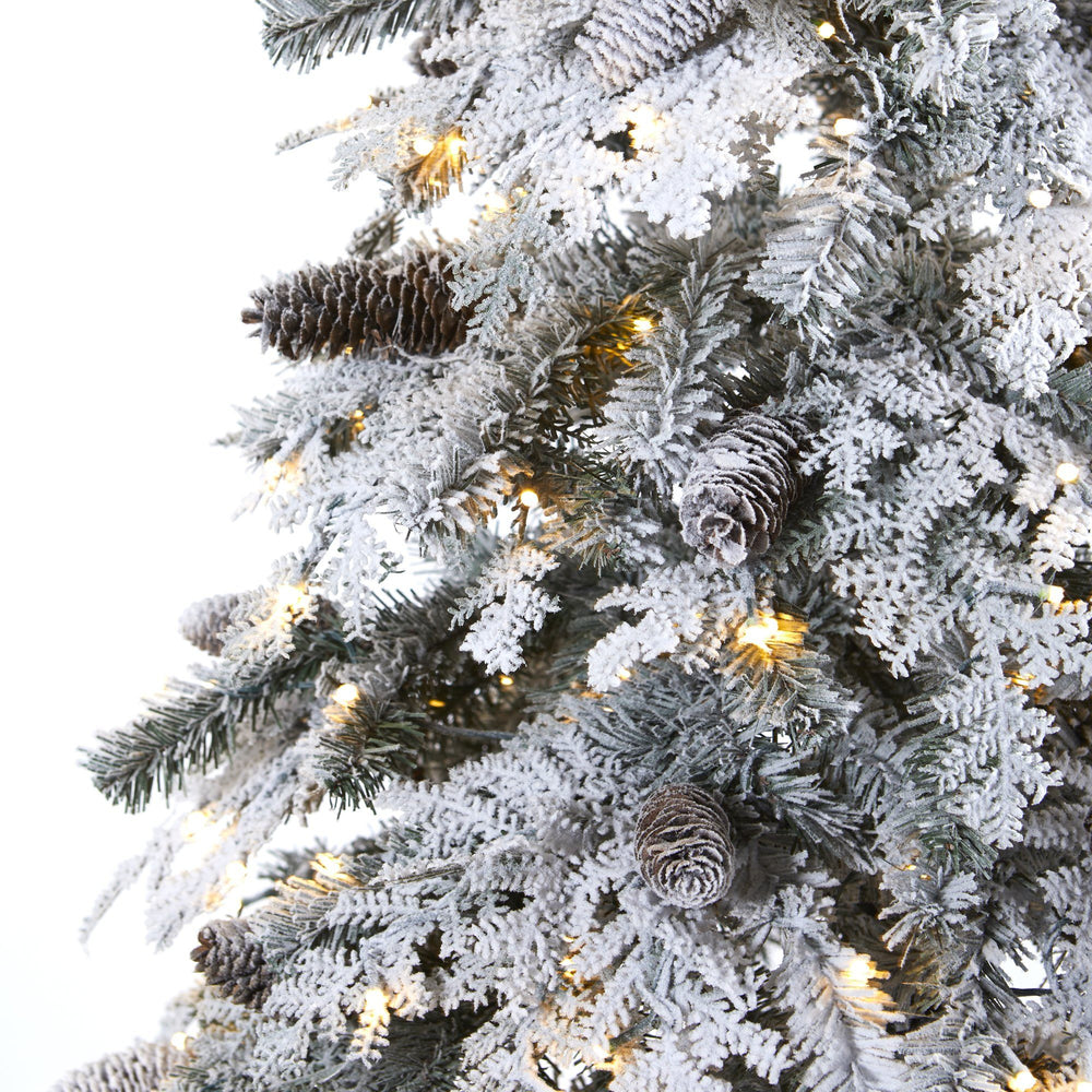8' Flocked Montana Down Swept Spruce Artificial Christmas Tree with Pinecones and 500 LED Lights
