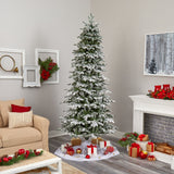 8' Flocked North Carolina Fir Artificial Christmas Tree with 650 Warm White Lights and 2593 Branches