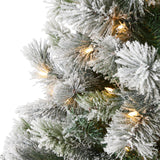 8' Flocked Oregon Pine Artificial Christmas Tree with 500 Clear Lights and 1172 Bendable Branches