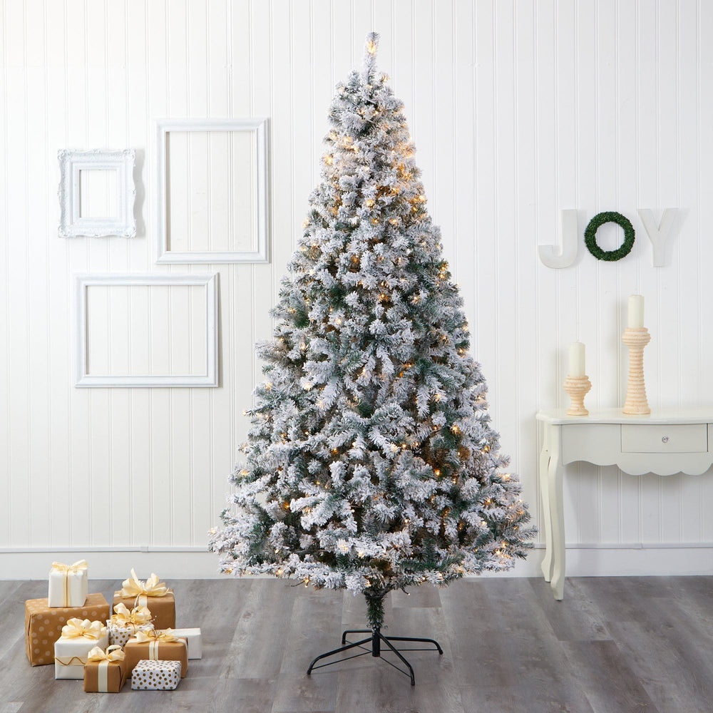 8' Flocked Rock Springs Spruce Artificial Christmas Tree with 500 Clear LED Lights and 1186 Bendbable Branches