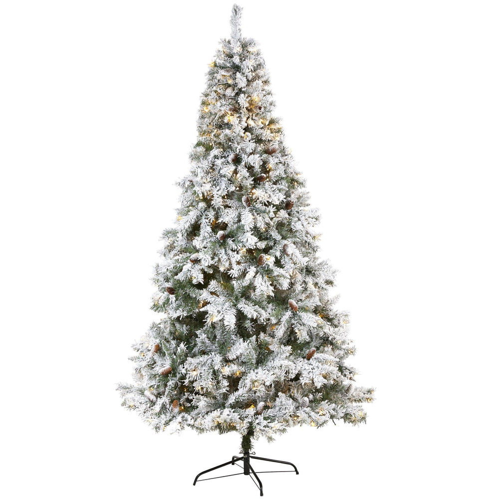 8' Flocked White River Mountain Pine Artificial Christmas Tree with Pinecones and 500 Clear LED Lights