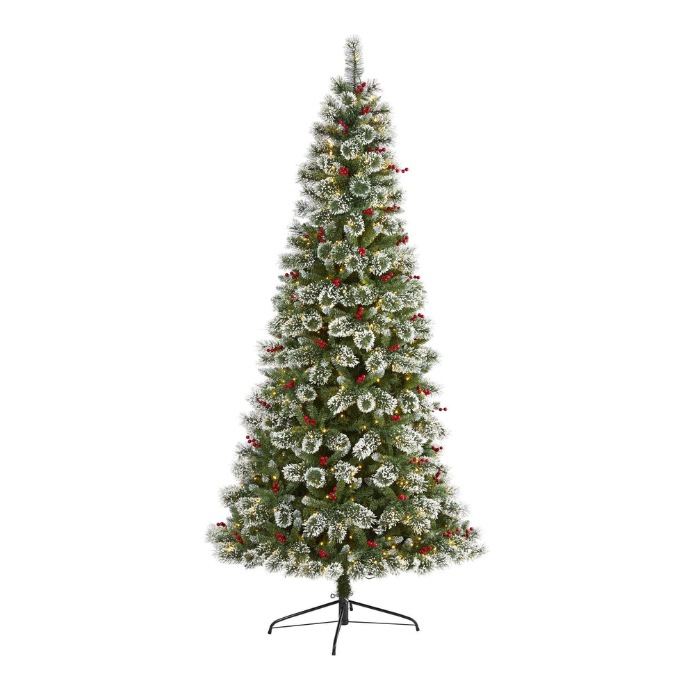 8' Frosted Swiss Pine Artificial Christmas Tree with 550 Clear LED Lights and Berries