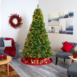 8' Montana Mixed Pine Artificial Christmas Tree with Pine Cones, Berries and 700 Clear LED Lights
