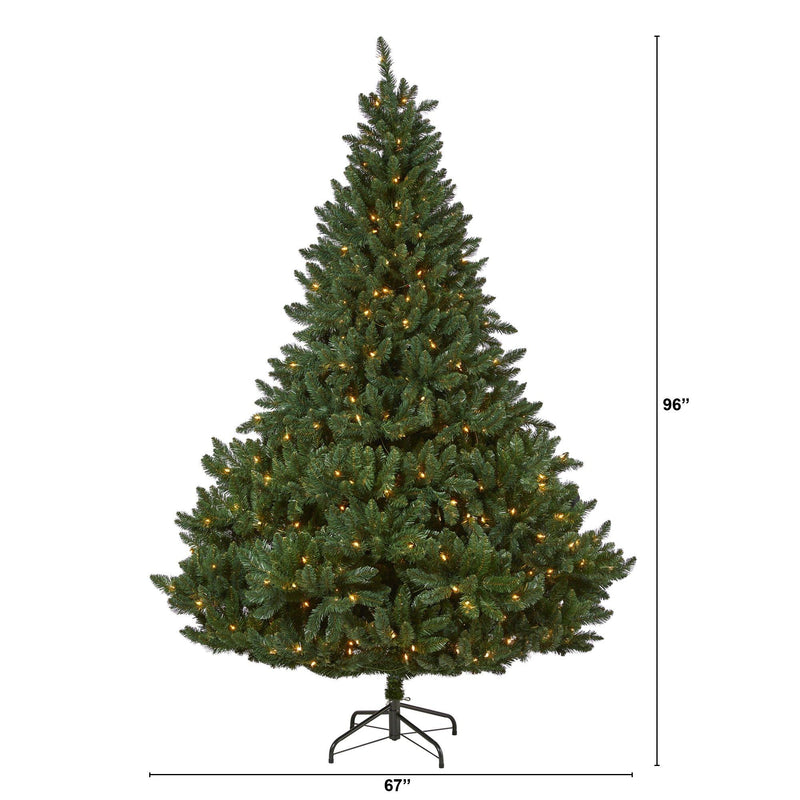 8' Northern Rocky Spruce Artificial Christmas Tree with 500 Clear Lights and 1948 Bendable Branches
