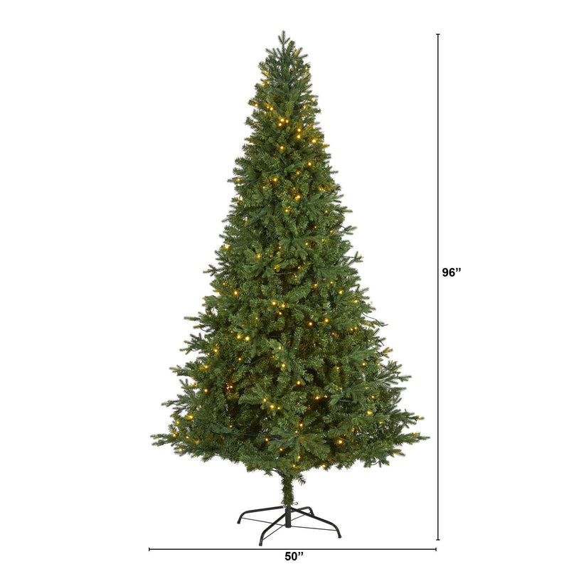 8' Vermont Fir Artificial Christmas Tree with 450 Clear LED Lights