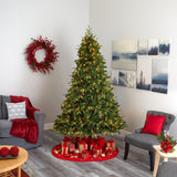 "8' Wellington Spruce ""Natural Look"" Artificial Christmas Tree with 550 Clear LED Lights and Pine Cones"