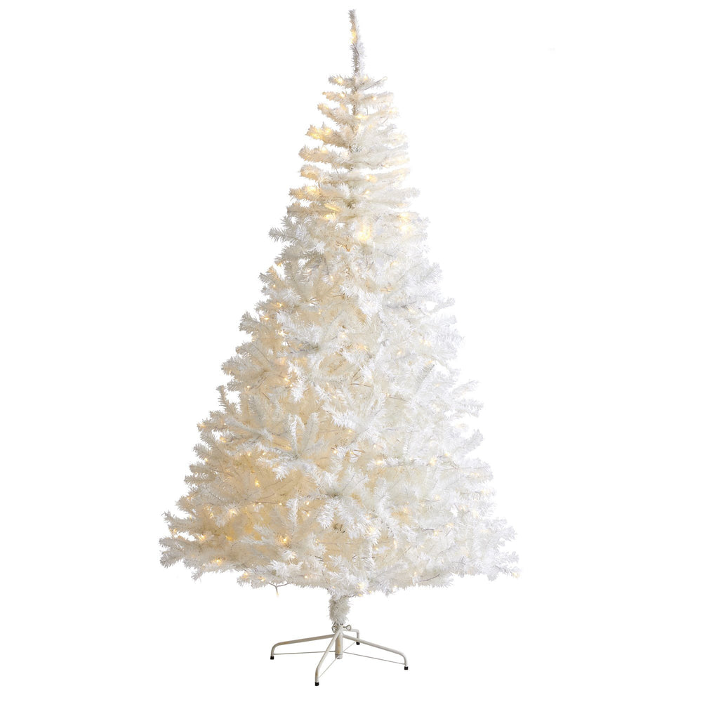 8' White Artificial Christmas Tree with 1500 Bendable Branches and 450 LED Lights