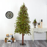 8' Wyoming Alpine Artificial Christmas Tree with 250 Clear (multifunction) LED Lights and Pine Cones on Natural Trunk