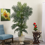 "80"" Golden Cane Artificial Palm Tree in Decorative Urn"