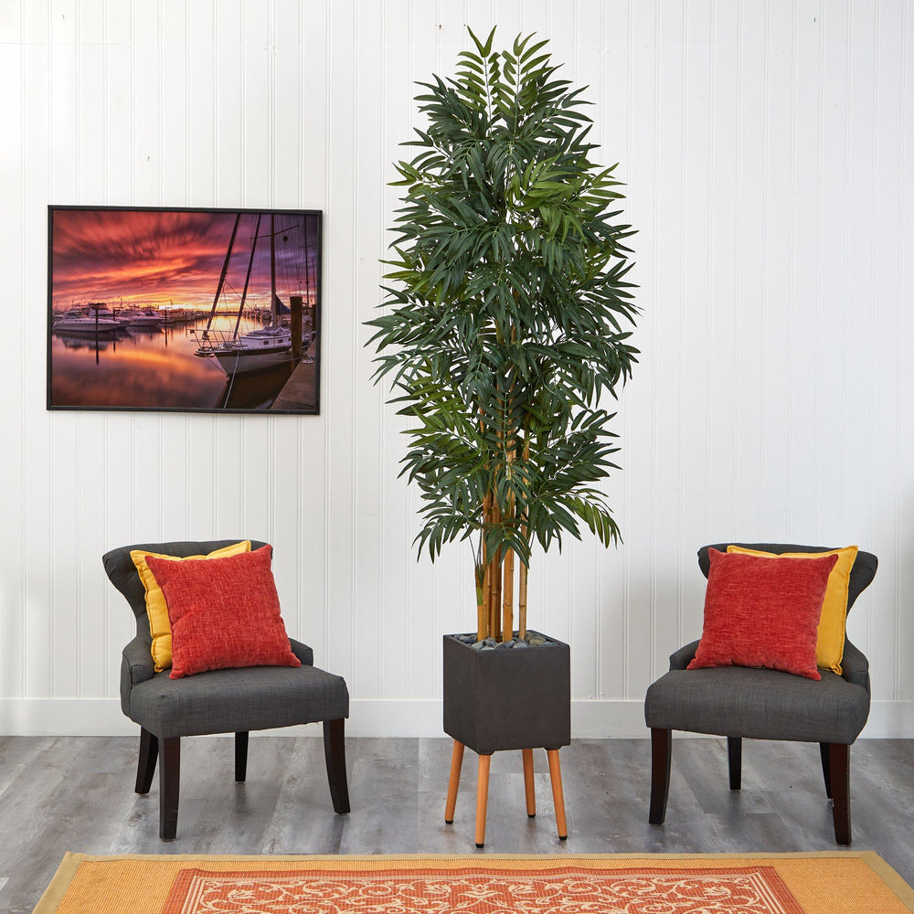 "80"" Phoenix Artificial Palm tree in Black Planter with Stand"