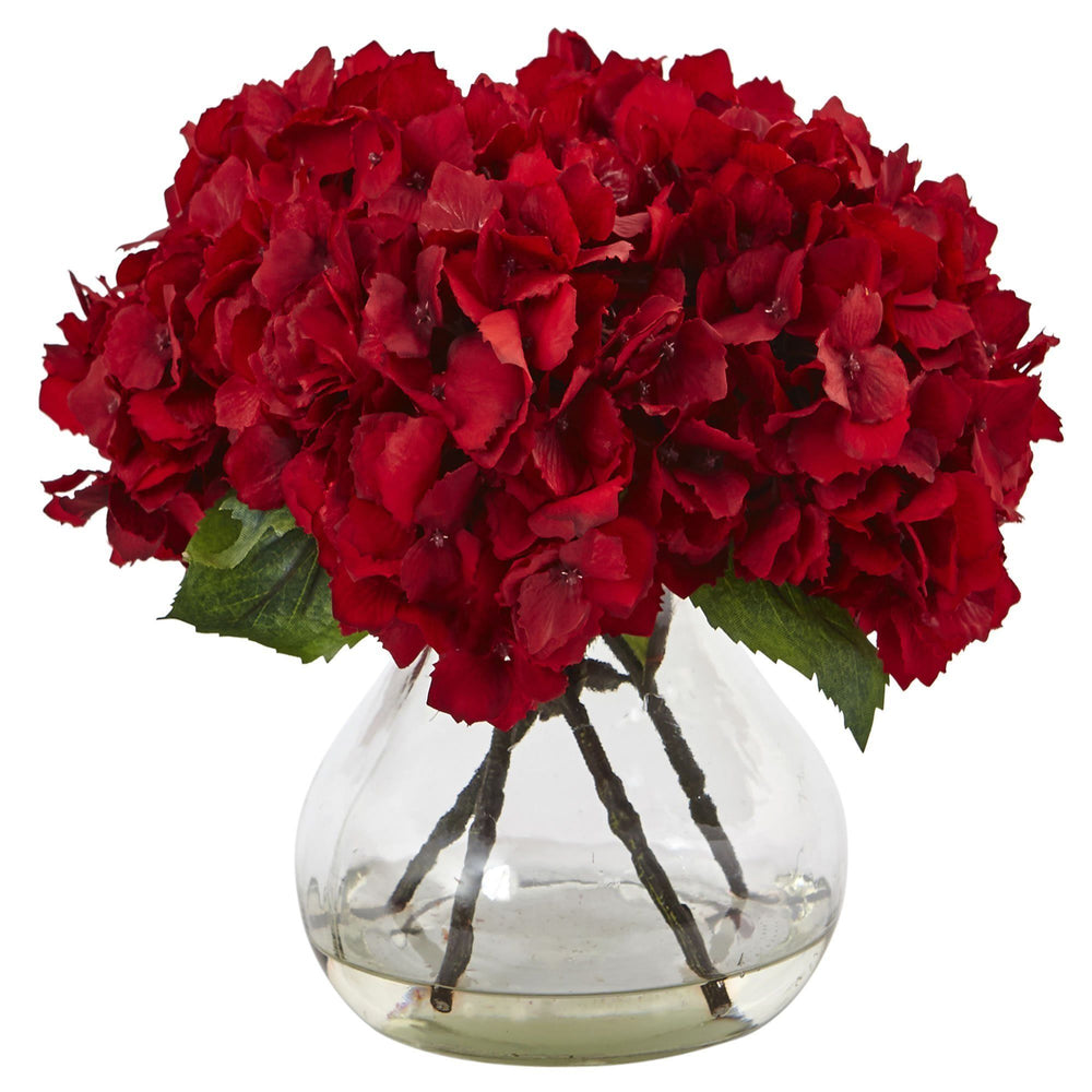 "8.5"" Artificial Red Hydrangea with Vase Silk Flower Arrangement"
