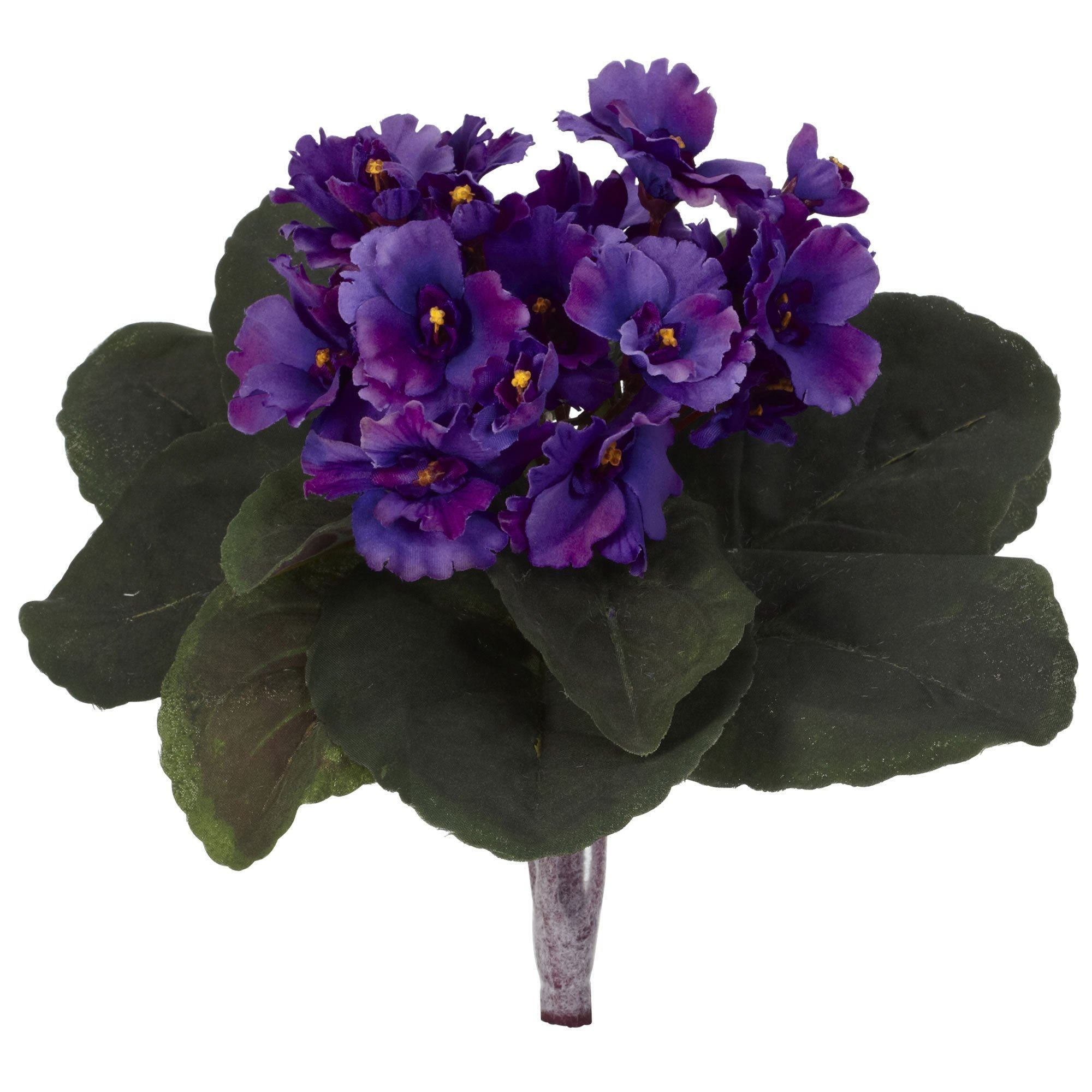 9 African Violet Artificial Plant Set Of 6 Nearly Natural