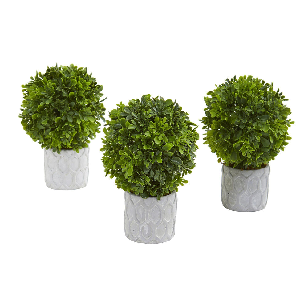 9 Boxwood Artificial Mini Topiary Set Of 3 Nearly Natural