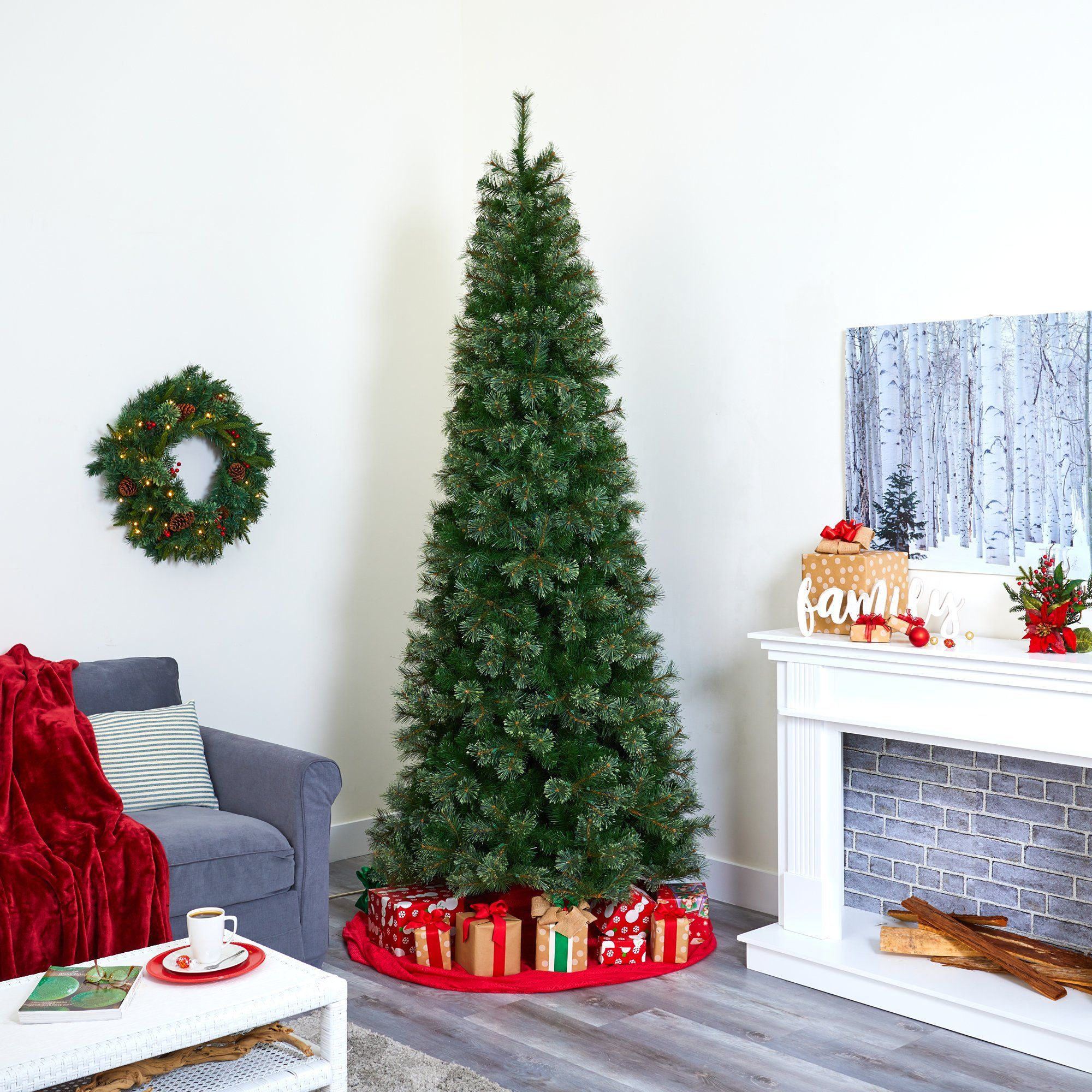 9 Cashmere Slim Artificial Christmas Tree With 550 Warm White Lights And 1308 Bendable Branches Nearly Natural